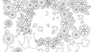 【無料】大人の塗り絵「ねこと花」